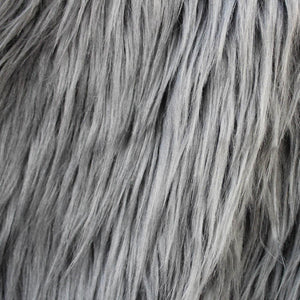 Grey Faux Fake Fur Solid Shaggy Long Pile Fabric