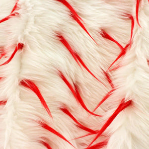 Red White Faux Fur Two Tone Spiked Shaggy Long Pile Fabric