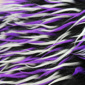 Violet White on Black Three Tone Spiked Faux Fur Fabric