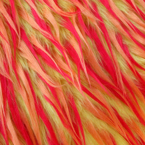 Red Orange on Lemon Spiked Three Tone Faux Fur Fabric