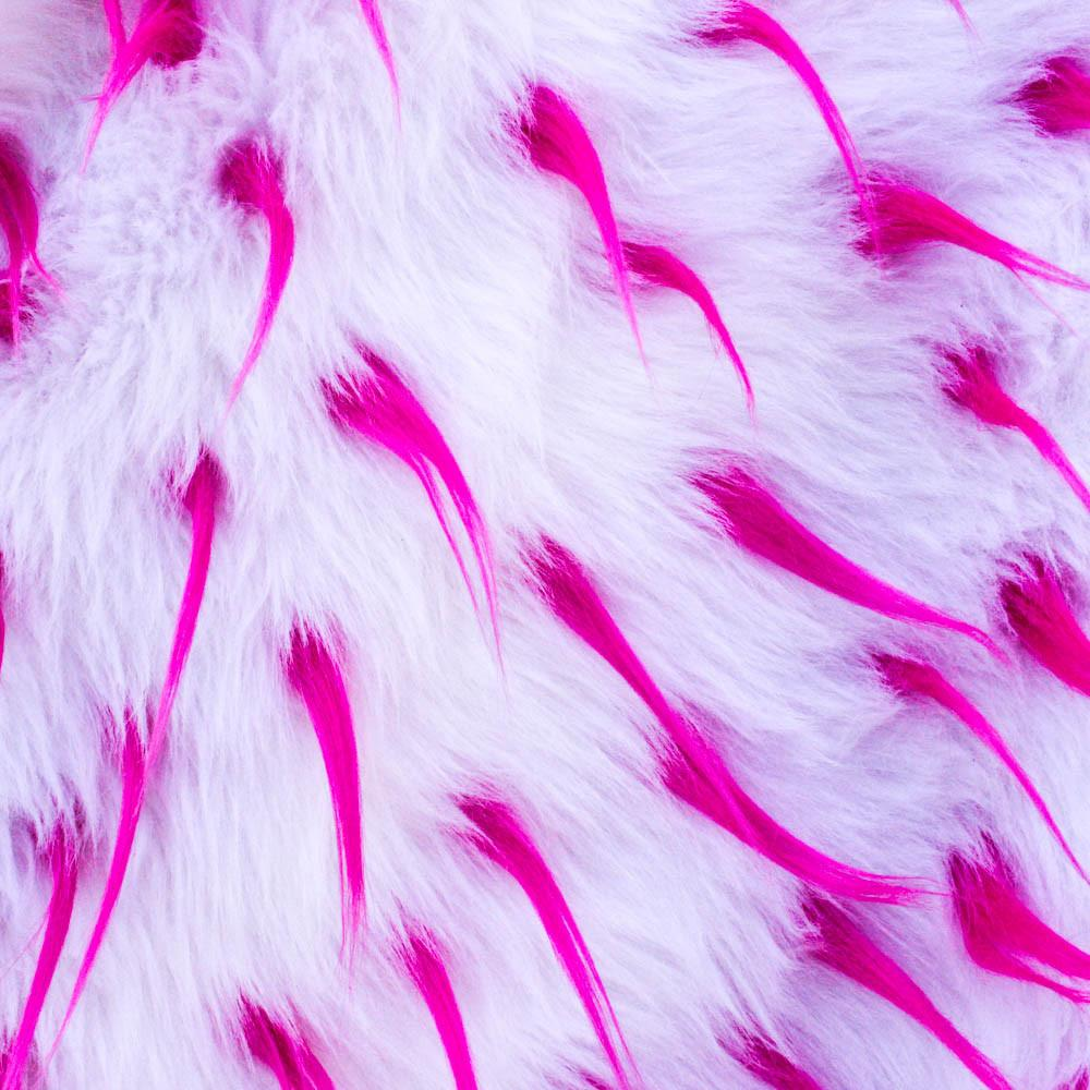 Pink White Faux Fur Two Tone Spiked Shaggy Long Pile Fabric