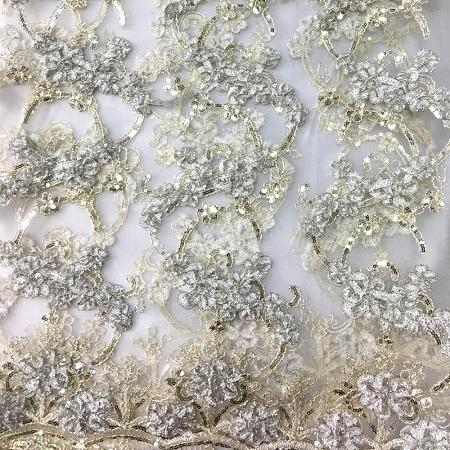 LIGHT CHAMPAGNE Emperor's Lace Fabric