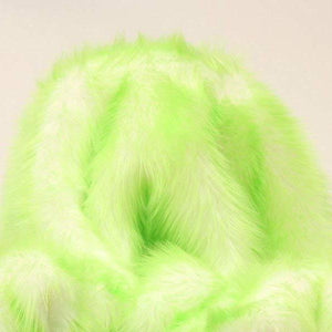 Lime Faux Fur Candy Shaggy Fabric Long Pile