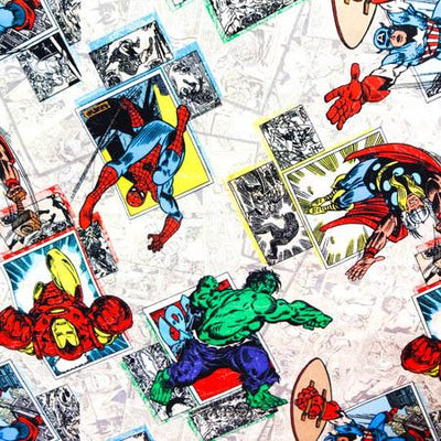 Marvel Comics Action White 100% Cotton Print Fabric