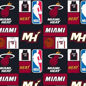 NBA Miami Heat 100% Cotton Print Fabric