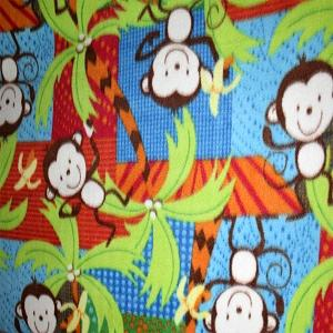 Monkeys Frolic On Blue Anti Pill Animal Theme Fleece Fabric