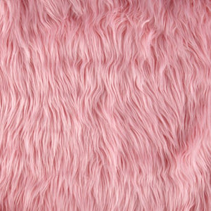 Pink Faux Fake Mongolian Animal Fur Fabric Long Pile