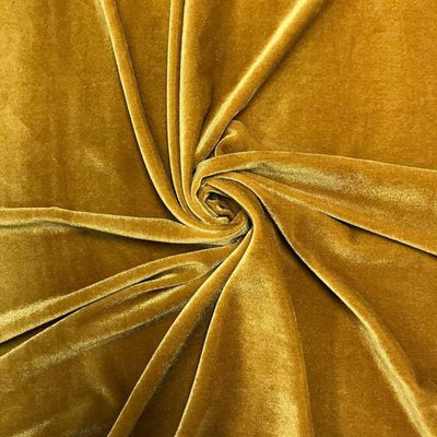 Gold Stretch Velvet Fabric / 60 Yards Roll