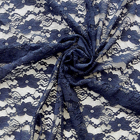 Navy Floral Raschel Lace Fabric