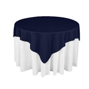 "Navy Blue Square Overlay Tablecloth 60"" x 60"""
