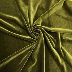 Olive Velvet Stretch Fabric