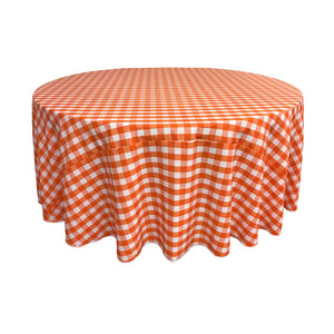 Orange Polyester Checkered Round 108""