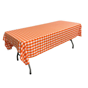 "White Orange Gingham Checkered Polyester Rectangular Tablecloth 60"" x 108"""