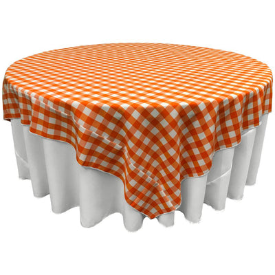 White Orange Checkered Square Overlay Tablecloth Polyester 85