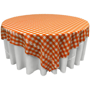 "White Orange Checkered Square Overlay Tablecloth Polyester 60"" x 60"""
