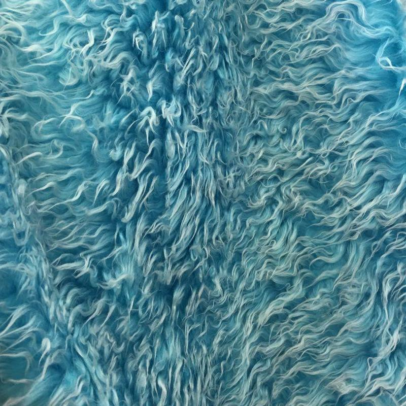 Turquoise Java Frosted Mongolian Faux Fur Fabric