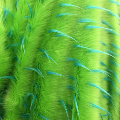 Turquoise Lime Faux Fur Two Tone Spiked Shaggy Long Pile Fabric