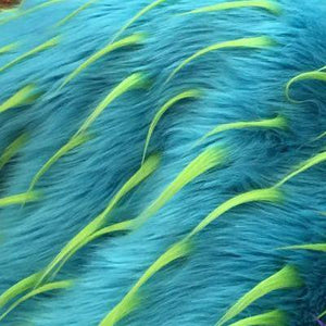 Lime Turquoise Faux Fur Two Tone Spiked Shaggy Long Pile Fabric