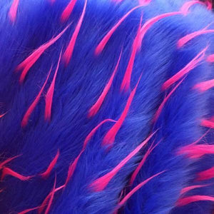 Royal Fuchsia Faux Fur Two Tone Spiked Shaggy Long Pile Fabric