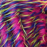 Lime Blue on Fuschia Three Tone Spiked Faux Fur Fabric