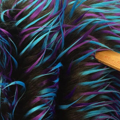 Turquoise Purple on Black Three Tone Spiked Faux Fur Fabric