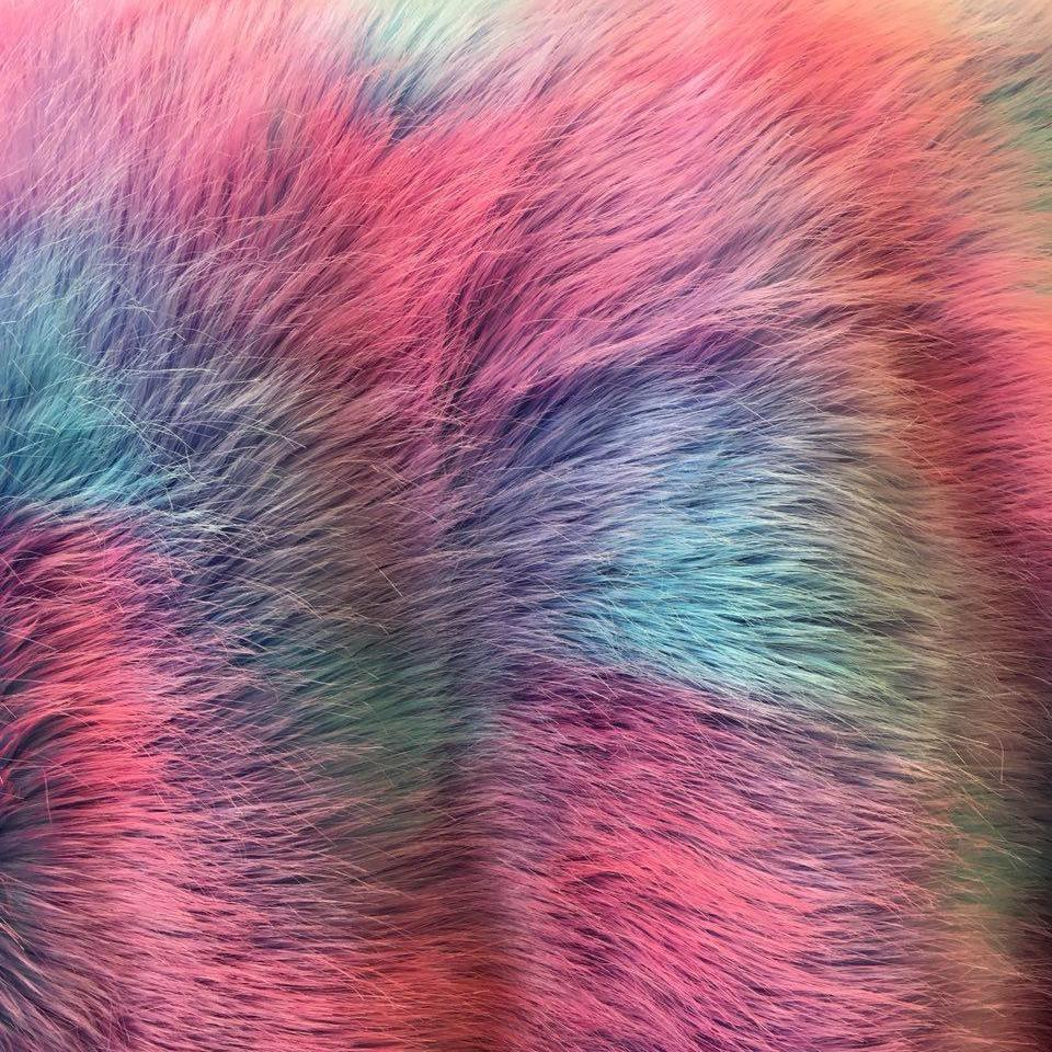 Royal Backing Faux Fur Wave Rainbow Fur Fabric