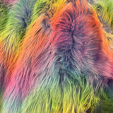 Blue Backing Faux Fur Wave Rainbow Fur Fabric