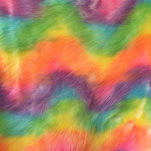 Ivory Backing Faux Fur Wave Rainbow Fur Fabric