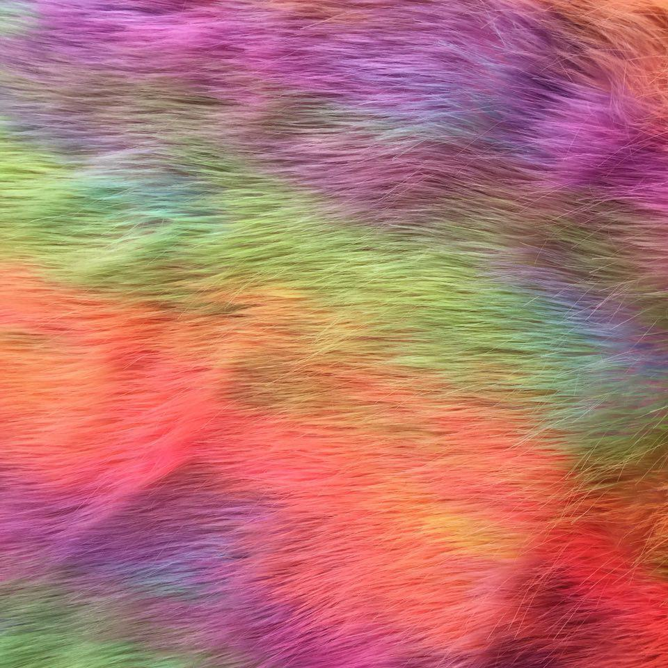 Pink Backing Faux Fur Wave Rainbow Fur Fabric