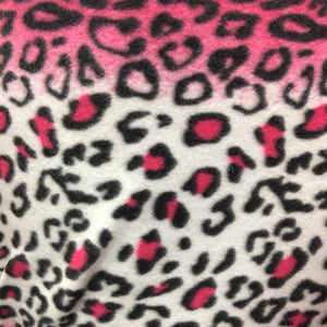 Pink White Black Leopard Animal Print Fleece Fabric