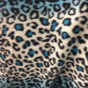 Turquoise Snow Leopard Fleece Fabric
