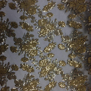 Gold Peach Roses 2 Tone Sequins Lace Fabric