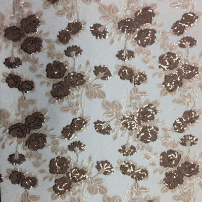 Brown Peach Roses 2 Tone Sequins Lace Fabric