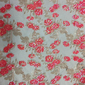 Coral Peach Roses 2 Tone Sequins Lace Fabric