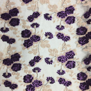 Purple Peach Roses 2 Tone Sequins Lace Fabric