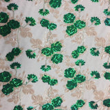 Green Peach Roses 2 Tone Sequins Lace Fabric