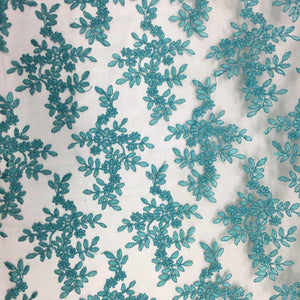 Teal Forbidden Primrose Floral Mesh Lace Fabric