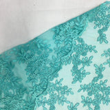 Mint Forbidden Primrose Floral Mesh Lace Fabric