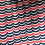 Red Blue Wave Print Chevron Anti Pill Fleece Fabric