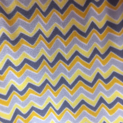 Yellow Print Chevron Anti Pill Fleece Fabric