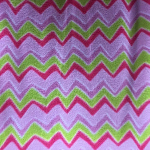 Green Print Chevron Anti Pill Fleece Fabric