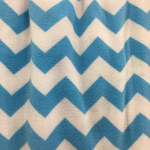 Teal Print Chevron Anti Pill Fleece Fabric