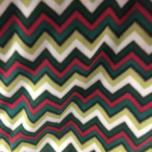 Green Red Print Chevron Anti Pill Fleece Fabric
