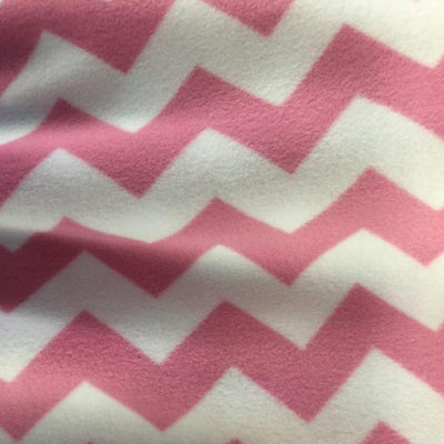 Pink Print Chevron Anti Pill Fleece Fabric