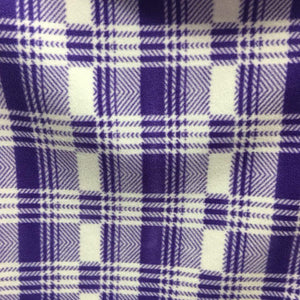 Purple White Tartan Plaid Checkered Anti Pill Plaid Fleece Fabric