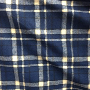 Navy Blue Tartan Plaid Checkered Anti Pill Plaid Fleece Fabric