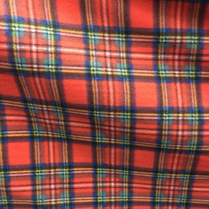 Red Green Tartan Plaid Checkered Anti Pill Plaid Fleece Fabric