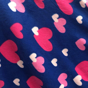 White/Red Hearts Anti Pill Fleece Fabric