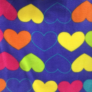 lime Yellow Orange Hearts on Blue Anti Pill Fleece Fabric