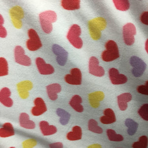 Red Yellow Hearts on White Anti Pill Fleece Fabric